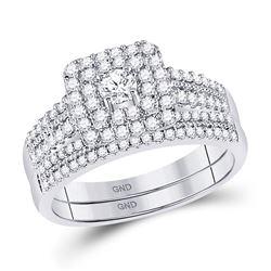 14kt White Gold Womens Round Diamond Double Halo Bridal Wedding Engagement Ring Band Set 3/4 Cttw