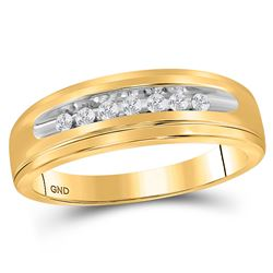 10kt Yellow Gold Womens Round Diamond Single Row Channel-set Band Ring 1/6 Cttw