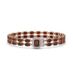 14.45 ctw Garnet & Diamond Bracelet 14K Rose Gold