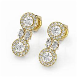 2 ctw Diamond Designer Earrings 18K Yellow Gold