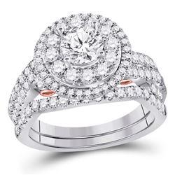 14kt Two-tone Gold Womens Round Diamond Bridal Wedding Engagement Ring Band Set 2.00