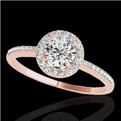 1.2 ctw Certified Diamond Solitaire Halo Ring 10k Rose Gold
