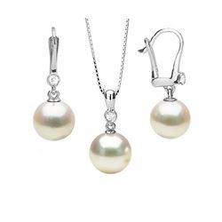 Akoya Pearl and Diamond Bezel Pendant and Dangle Earring Set