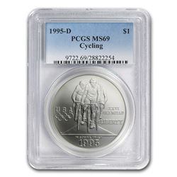 1995-D Olympic Cycling $1 Silver Commem MS-69 PCGS