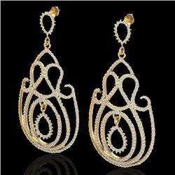 3.50 ctw Micro Pave Designer VS/SI Diamond Earrings 14k Yellow Gold
