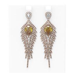 9.62 ctw Canary Citrine & Diamond Earrings 18K Rose Gold