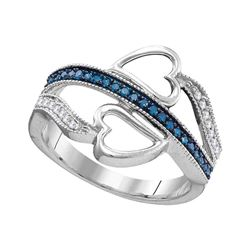 10kt White Gold Womens Round Blue Color Enhanced Diamond Heart Ring 1/5 Cttw
