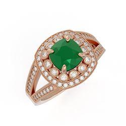 2.69 ctw Certified Emerald & Diamond Victorian Ring 14K Rose Gold
