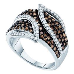 10kt White Gold Womens Round Brown Diamond Fashion Ring 1.00 Cttw