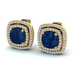 4.95 ctw Sapphire & Micro Pave VS/SI Diamond Earrings 18k Yellow Gold