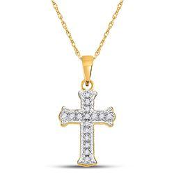 10kt Yellow Gold Womens Round Diamond Cross Pendant 1/12 Cttw