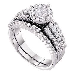 14kt White Gold Womens Princess Diamond Bridal Wedding Engagement Ring Set 1.00 Cttw