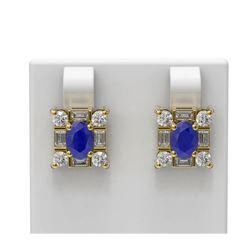 3.83 ctw Sapphire & Diamond Earrings 18K Yellow Gold