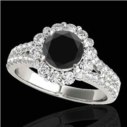 2.01 ctw Certified VS Black Diamond Solitaire Halo Ring 10k White Gold