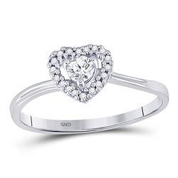 10kt White Gold Womens Round Diamond Heart Promise Bridal Ring 1/4 Cttw