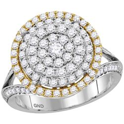 14kt Two-tone Gold Womens Round Diamond Right Hand Cocktail Ring 1-3/8 Cttw