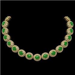 101.75 ctw Jade & Diamond Victorian Necklace 14K Yellow Gold