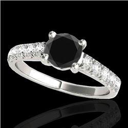 2.1 ctw Certified VS Black Diamond Solitaire Ring 10k White Gold