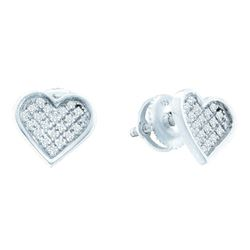 Sterling Silver Womens Round Diamond Heart Cluster Earrings 1/10 Cttw
