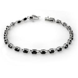 9.10 ctw Blue Sapphire Bracelet 14k White Gold