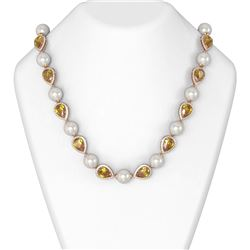43.75 ctw Canary Citrine & Diamond Necklace 18K Rose Gold