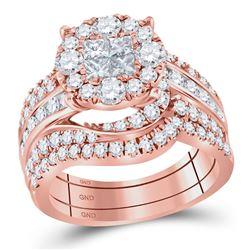 14kt Rose Gold Womens Princess Round Diamond Bridal Wedding Engagement Ring Band Set 2-1/2 Cttw
