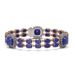 21.83 ctw Sapphire & Diamond Bracelet 14K Rose Gold