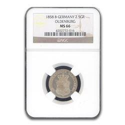1858-B Germany 2 1/2 Groschen Oldenburg MS-66 NGC