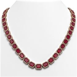 58.59 ctw Ruby & Diamond Micro Pave Halo Necklace 10k Rose Gold