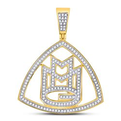 10kt Yellow Gold Mens Round Diamond Maybach Music Group Charm Pendant 1/2 Cttw