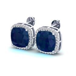 12 ctw Sapphire & Micro Pave VS/SI Diamond Earrings 18k White Gold