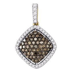 10kt Yellow Gold Womens Round Brown Diamond Square Cluster Pendant 1/2 Cttw
