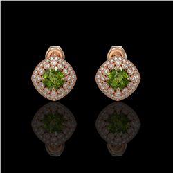 4.39 ctw Tourmaline & Diamond Victorian Earrings 14K Rose Gold