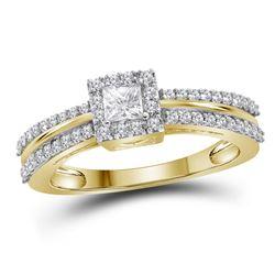 14kt Yellow Gold Womens Princess Diamond Princess Bridal Wedding Engagement Ring 1/2 Cttw