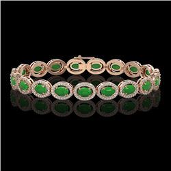 15.20 ctw Jade & Diamond Micro Pave Halo Bracelet 10k Rose Gold