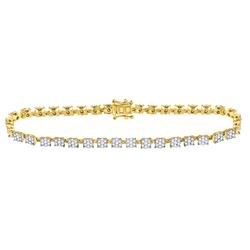 14kt Yellow Gold Womens Round Diamond Fashion Cluster Tennis Bracelet 1-7/8 Cttw