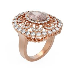5.76 ctw Morganite & Diamond Ring 18K Rose Gold