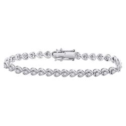 Sterling Silver Womens Round Diamond Heart Tennis Bracelet 1.00 Cttw