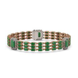 29.64 ctw Emerald & Diamond Bracelet 14K Rose Gold