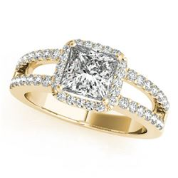 1.26 ctw Certified VS/SI Princess Diamond Halo Ring 14k Yellow Gold