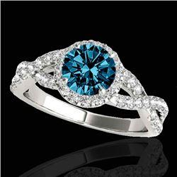 1.54 ctw SI Certified Fancy Blue Diamond Halo Ring 10k White Gold
