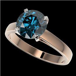 2.50 ctw Certified Intense Blue Diamond Engagment Ring 10k Rose Gold