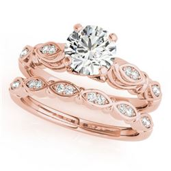 0.52 ctw Certified VS/SI Diamond 2pc Wedding Set Antique 14k Rose Gold