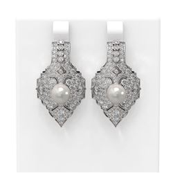 4.14 ctw Diamond & Pearl Earrings 18K White Gold