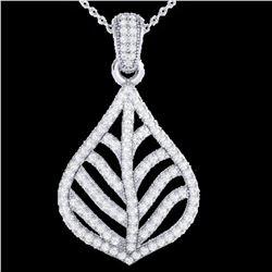 1.25 ctw Micro Pave VS/SI Diamond Necklace Designer 18k White Gold