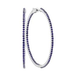 14kt White Gold Womens Round Blue Sapphire Slender Hoop Earrings 4-1/3 Cttw