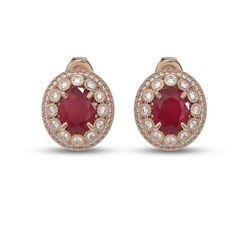 8.84 ctw Certified Ruby & Diamond Victorian Earrings 14K Rose Gold