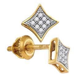 Yellow-tone Sterling Silver Womens Round Diamond Square Kite Cluster Earrings 1/20 Cttw