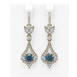 5.27 ctw Intense Blue Diamond Earrings 18K Yellow Gold