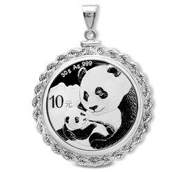 2019 30 gram Silver Panda Pendant (Rope-ScrewTop Bezel)